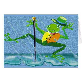 Cartão canto no sapo da chuva