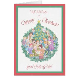 Cartão Cantores da canção de natal, árvore de Natal de