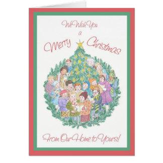Cartão Cantores da canção de natal, árvore de Natal nossa