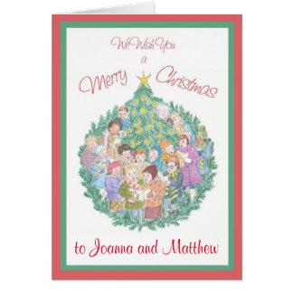 Cartão Cantores da canção de natal e árvore de Natal