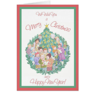 Cartão Cantores da canção de natal, o feliz ano novo da