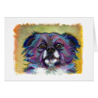 Cartão Cão adorável da arte da pintura da chihuahua -