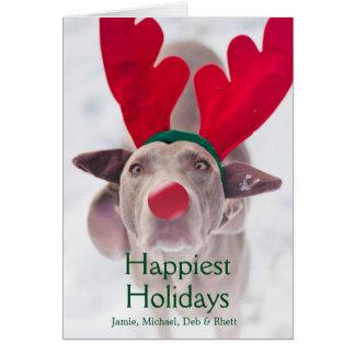 Cartão Cão adulto de Weimaraner que veste o headband