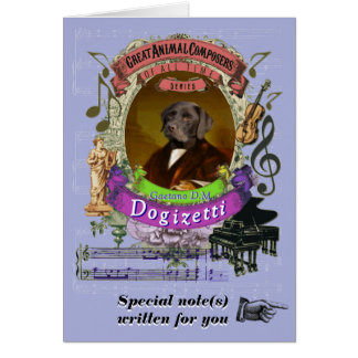 Cartão Cão animal do compositor de Dogizetti da paródia