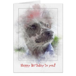 Cartão cão calvo com crista chinês aniversário-patriótico
