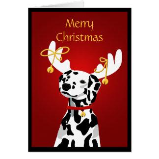 Cartão Cão Dalmatian do Natal com Antlers dos cervos