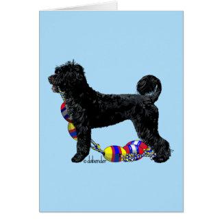 Cartão Cão de água português que está com linha de