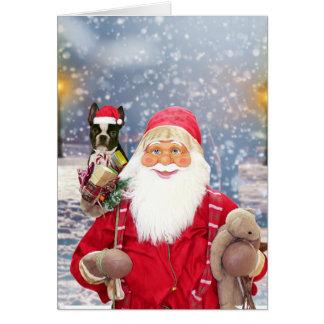 Cartão Cão de Boston Terrier dos presentes do Natal de