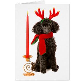 Cartão Cão de caniche preto do brinquedo do Natal vestido