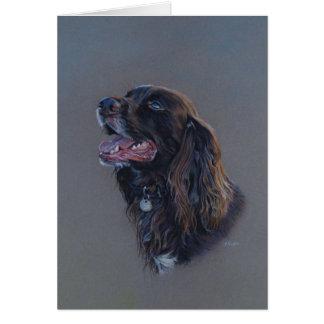 Cartão Cão de cocker spaniel do inglês. Belas artes,