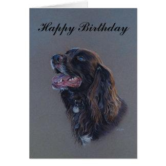 Cartão Cão de Engish cocker spaniel. Belas artes do feliz
