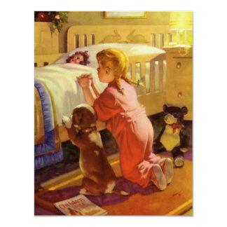 Cartão Cão de estimação Praying da menina religiosa do
