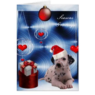 Cartão Cão de filhote de cachorro de Dalmation do Natal