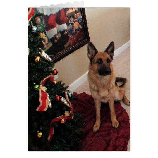 Cartão cão de pastor alemão de Natal