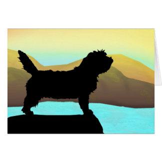 Cartão Cão de PBGV pelo mar