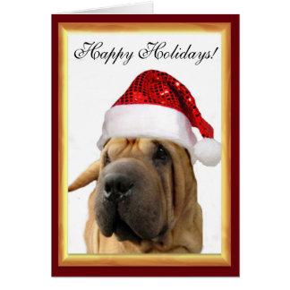 Cartão Cão de Shar Pei do Natal