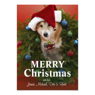 Cartão Cão de Shiba Inu que senta-se na grinalda do Natal