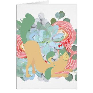 Cartão Cão descendente com flores