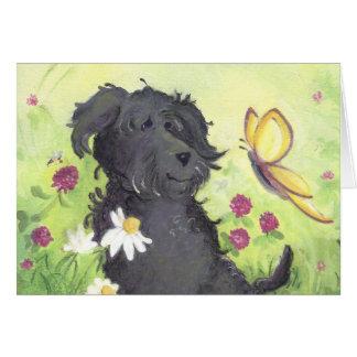 Cartão Cão do Doodle de Labradoodle/cartão de aniversário