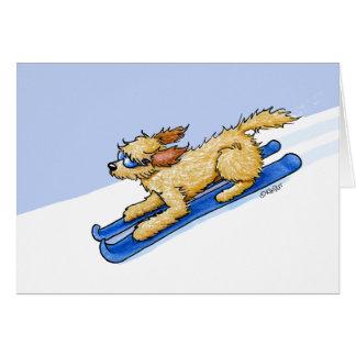 Cartão Cão do Doodle do esqui de KiniArt