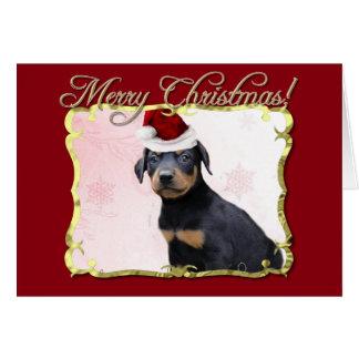 Cartão Cão do Pinscher do Doberman do Natal