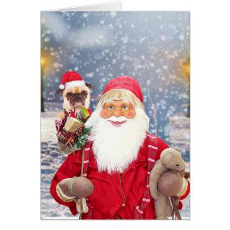 Cartão Cão do Pug dos presentes do Natal de Papai Noel w