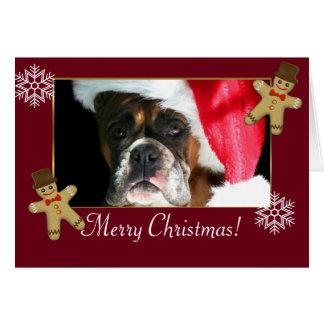 Cartão Cão do pugilista do Natal