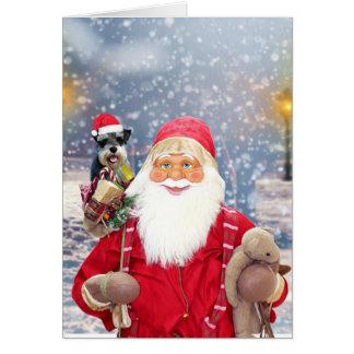 Cartão Cão do Schnauzer diminuto do Natal de Papai Noel w