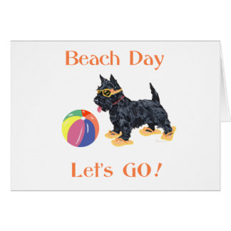 Cartão Cão do Scottie do dia da praia