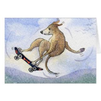 Cartão Cão do whippet do vôo