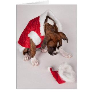 Cartão Cão em um traje do papai noel