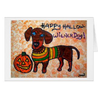 Cartão Cão feliz do Hallow-Wiener