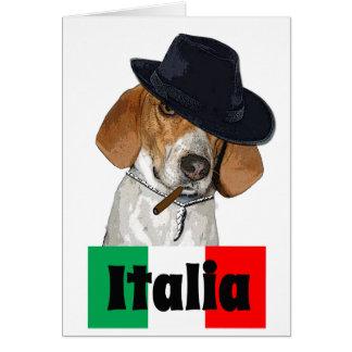 Cartão Cão italiano engraçado de Charley do gangster