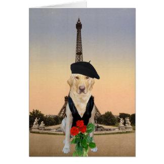 Cartão Cão/namorados franceses engraçados do laboratório