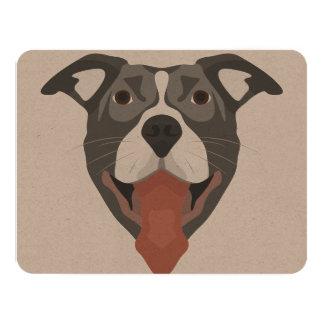 Cartão Cão Pitbull de sorriso da ilustração