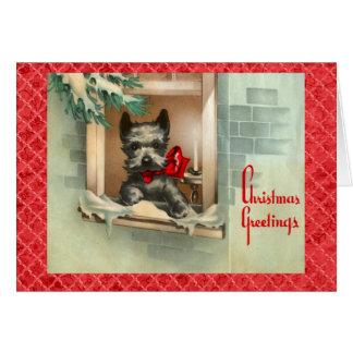 Cartão Cão preto do Scottie no vermelho da janela