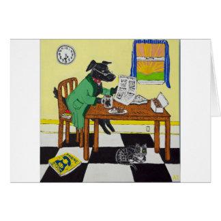 Cartão Cão que aprecia o café e as rosquinhas