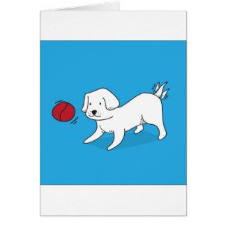Cartão Cão que joga com uma bola