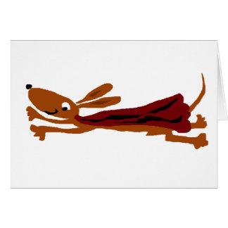 Cartão Cão super do Dachshund engraçado do vôo