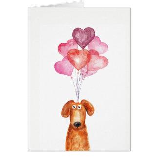 Cartão Cão Supercute da aguarela com balões do coração