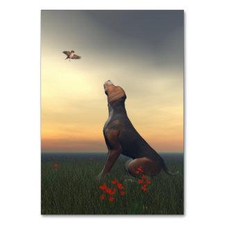 Cartão Cão tan preto que olha um vôo do pássaro