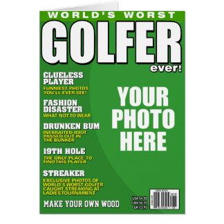 Cartão Capa de revista falsificada do jogador de golfe