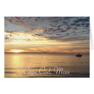 """Cartão Cape Cod, massa. Por do sol do oceano """"que pensa"""