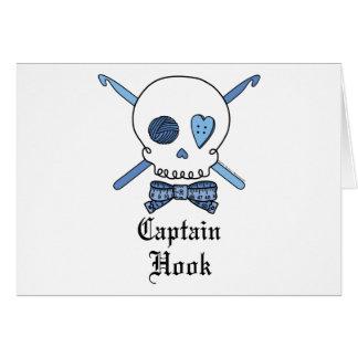 Cartão Capitão Gancho Crânio & ganchos de Crochet (azuis)