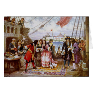 Cartão Capitão Kidd do pirata no porto de NY