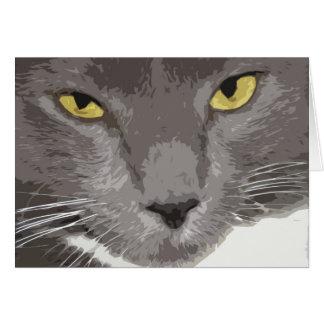 Cartão Cara cinzenta artística do gato