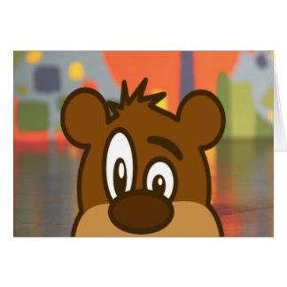 Cartão Cara do urso de Brown