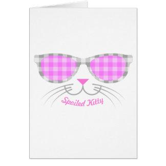 Cartão Cara estragada do gato do gatinho nas máscaras