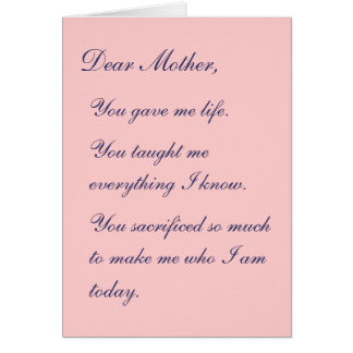 Cartão Cara mãe