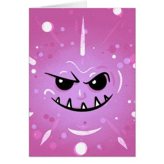 Cartão Cara roxa engraçada com sorriso Sneaky